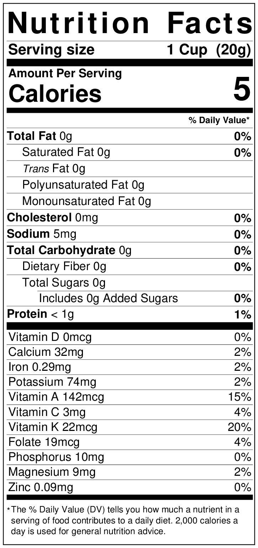 Nutrition label for arugula