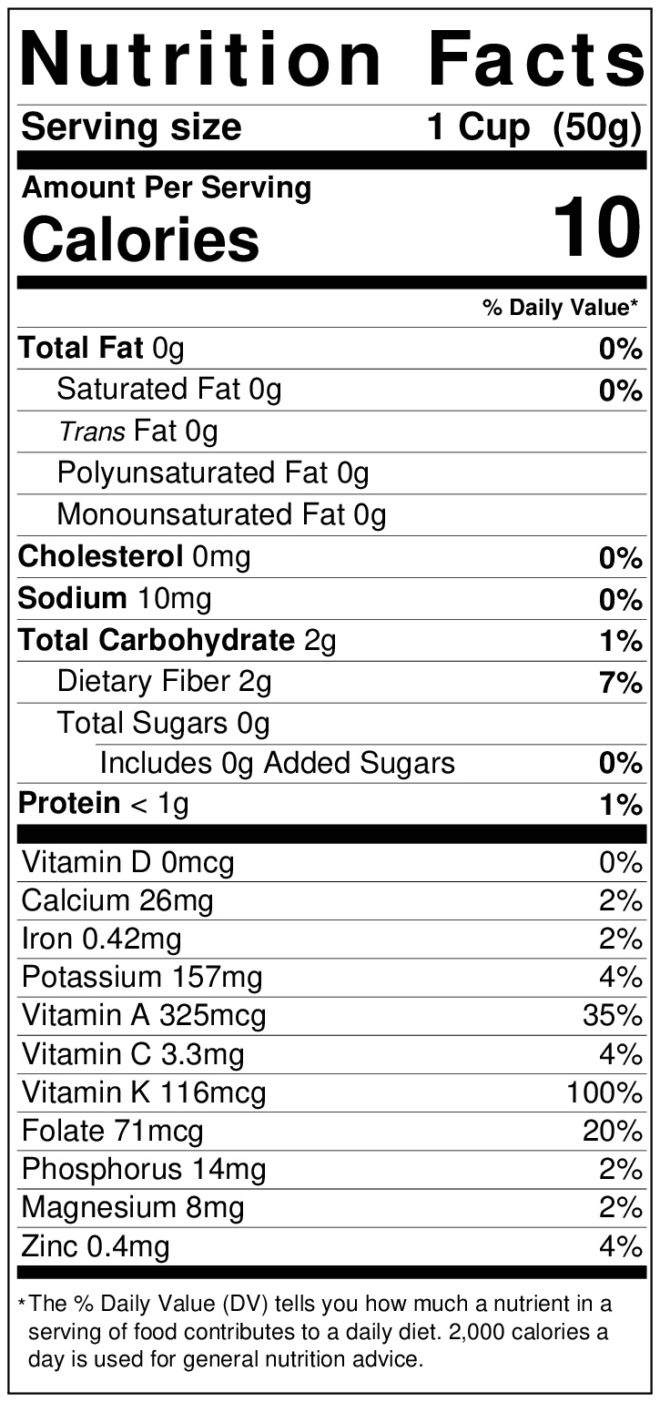 Nutrition label for endive