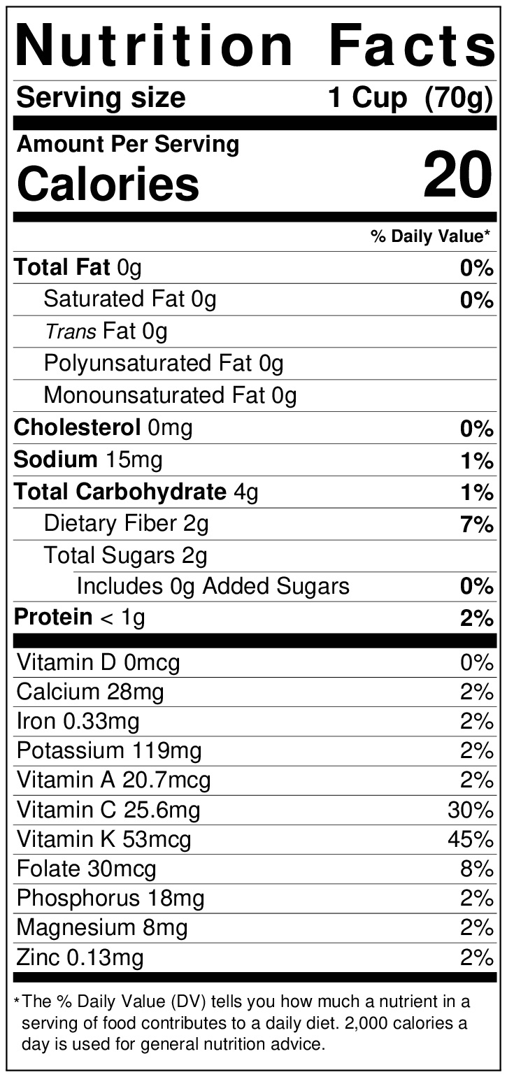 Green cabbage nutrition label