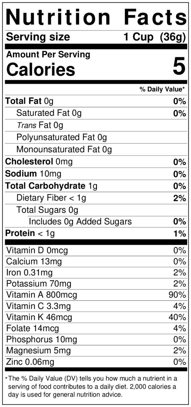 Nutrition label for green lettuceeaf