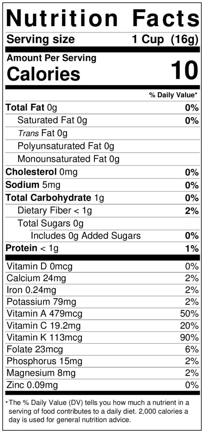 Nutrition label for kale