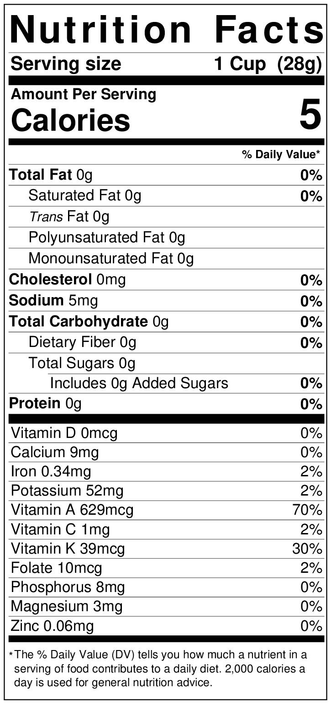 Nutrition label for red leaf lettuce