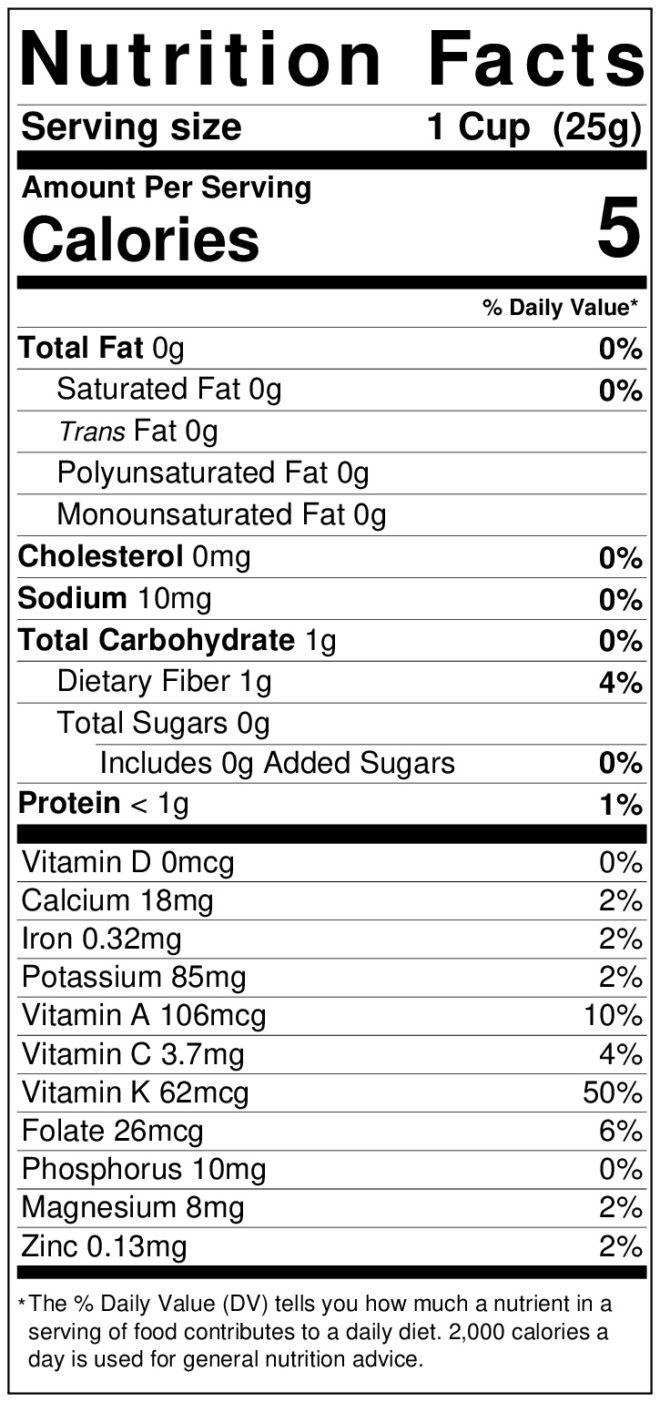 Nutrition label for spring mix
